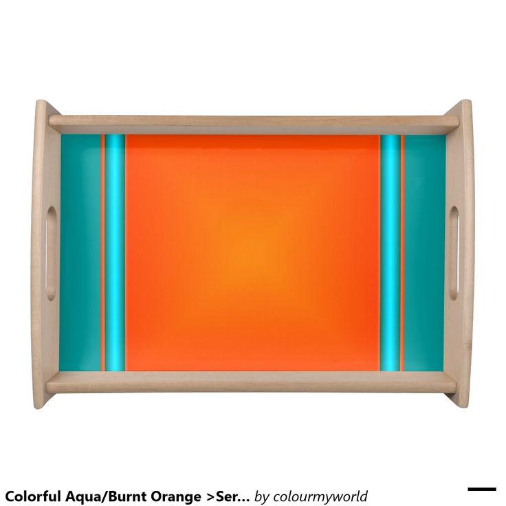 Colorful Aqua/Burnt Orange >Serving Tray Serving Platters