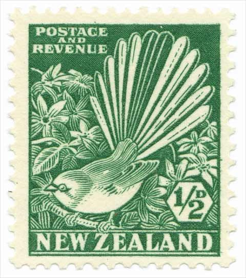 New Zealand, 1937. 1/2 penny. This stamp depicts the fantail (or 'piwakawaka' in Maori) bird. The bird's name derives from its beautiful tail of twelve feathers, which broadly expands as the bird flits about.