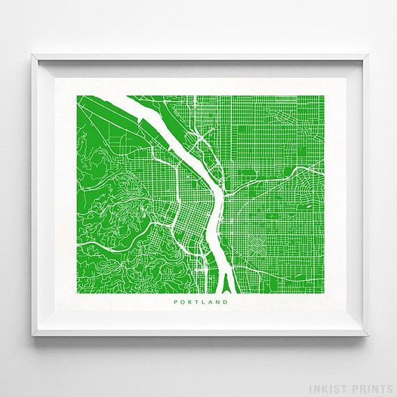Portland, Oregon Street Map Wall Art Poster - 70 Color Options - Prices from $9.95 - Click Photo for Details - #streetmap #map #homedecor #wallart #Portland #Oregon