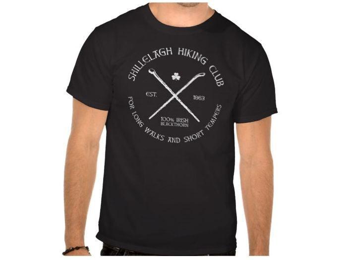 Shillelagh Hiking Club, Style is Basic T-Shirt, color is Black