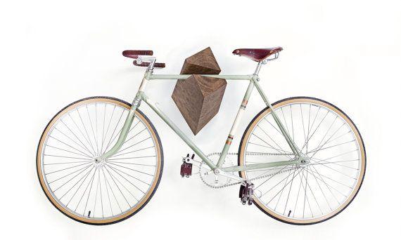 "Oak Wood Bike Hanger ""Elk"" with exclusive Burl grain by Woodstick Ltd..  via Etsy."