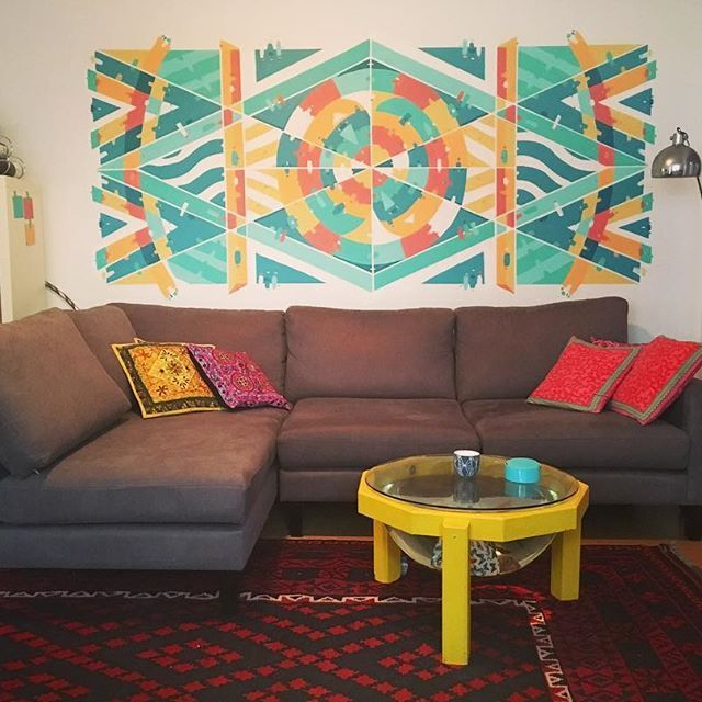 A new mural for a client in Coogee Beach! The mural was painted over a whole day using acrylic paint and rollers. I usually use aerosol paint, so it was a nice departure from the usual. The mural is situated in a beautiful art deco apartment built in early 1900s.  If you are interested in having your own Silver Lines work, check out www.silverlinesart.com or contact me on giles@silverlinesart.com #silverlinesart