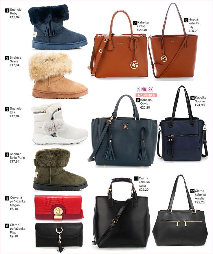 modré snehule, hnedé snehule s kožušinou, sivé snehule, zelené snehule s mašľou, červená peňaženka, čierna peňaženka, hnedá kabelka do ruky, hnedá kabelka na rameno, námornícka kabelka, modrá kabelka na rameno, čierna shopper kabelka, čierna kabelka na rameno, kabelky, NAJ.SK