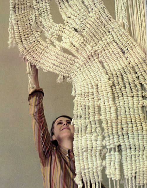 Aurelia Munoz with Macra I, 1969, from Beyond Craft: The Art of Fabric by Mildred Constantine and Jack Lenor Larsen, 1972