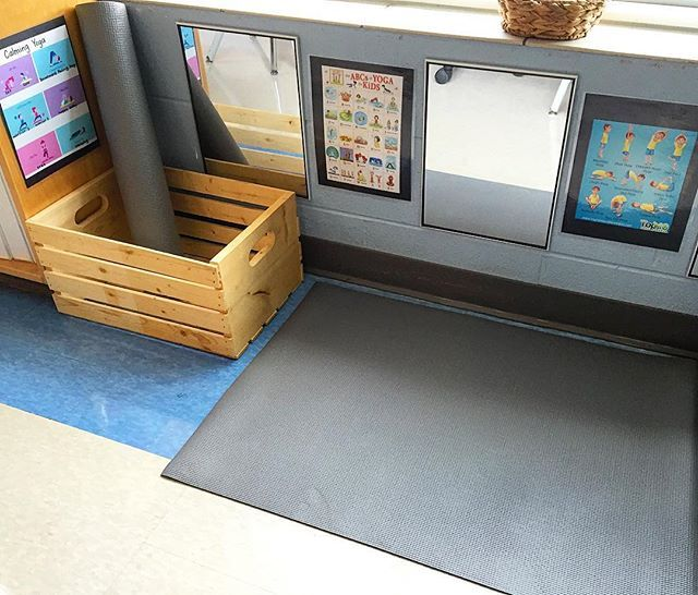 A corner of a Kindergarten room: So excited about our 'yoga studio' to help promote self-regulation in the…