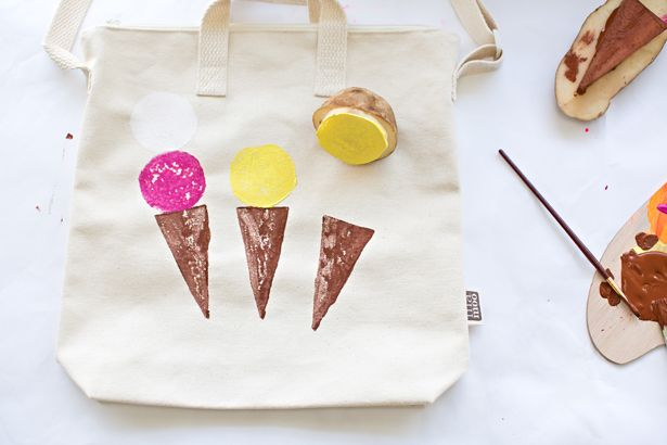 hello, Wonderful - DIY POTATO STAMPED ICE CREAM BAG FOR KIDS