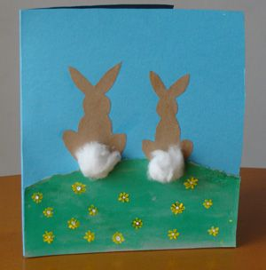 Easter art-- Make white bunnies, and make yellow flowers from thumbprints.