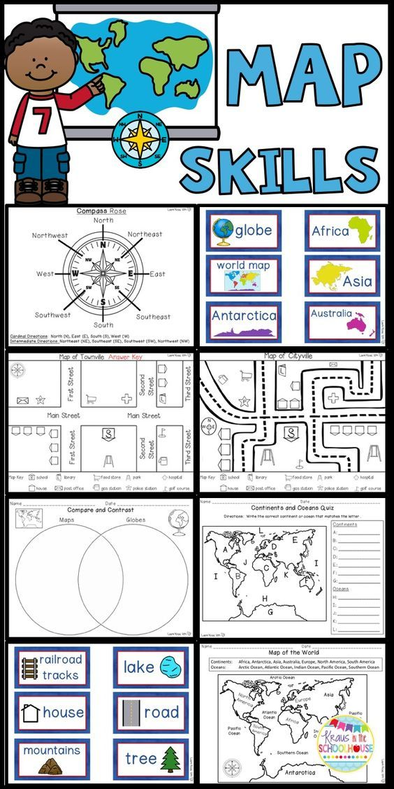 Are you teaching your students map skills? This product will help your students compare and contrast maps and globes. It will enable students to identify the continents and oceans of our world. They will practice using cardinal and intermediate directions. Students will create their own town using a map key. They will write sentences describing the location of the symbols on their fictitious city map.
