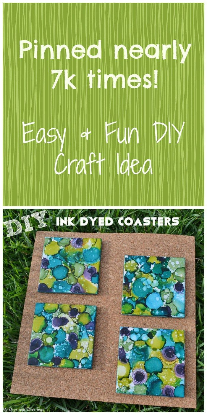 Easy and FUN DIY Craft Idea: Ink Dyed Coasters. Find everything you need in the post to get started! DIY Ink Dyed Coasters