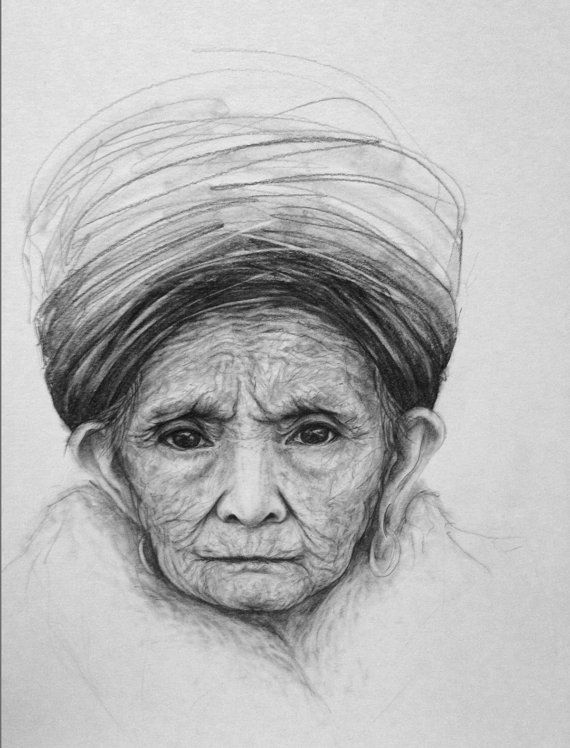 Woman Portrait Drawing Pencil, Old Lady Wearing a Hat ...