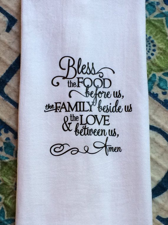 Farmhouse Kitchen Bless Food Before Us Flour Sack Dish Towel Tea Christmas Gift Towels by TheFarmhouseShoppeCo