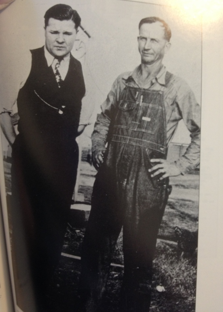 """Charles """"Pretty Boy"""" Floyd (left) and Jess Ring (right) in rural Muskogee county, Oklahoma, 1933.   From: The Life and Death of Pretty Boy Floyd by Jeffery S. King"""