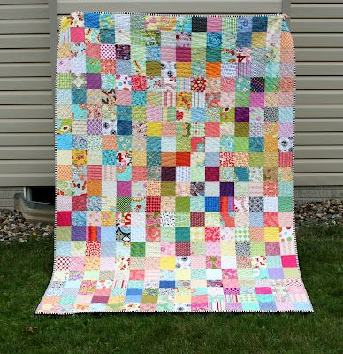 "crazy mom quilts: my online friendship quilt- made from 4.5"" cut squares/great idea"