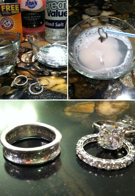 DIY Jewelry Cleaner: 1 Cup Hot Water, Tin Foil over the bottom of the bowl, 1 Tbsp Salt, 1 Tbsp Baking Soda, 1 Tbsp Dish Soap. Soak jewelry 5-10 minutes, rinse with cold water and polish with jewelry cloth. Works!!