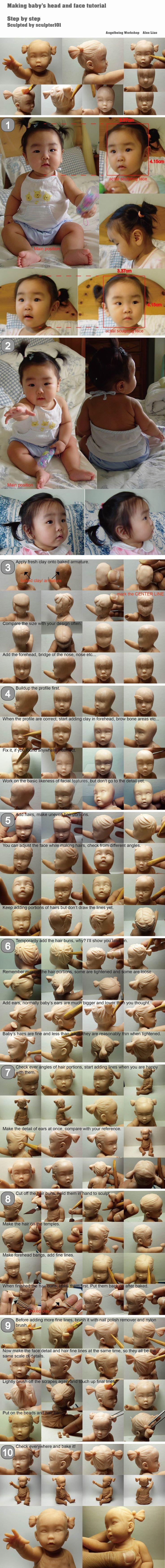 Making baby head and face tutorial by sculptor101.deviantart.com on @DeviantArt