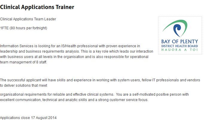 Clinical Applications Trainer  Clinical Applications Team Leader  1FTE (80 hours per fortnight)
