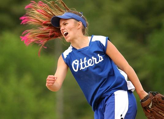 softball hair - colored tips