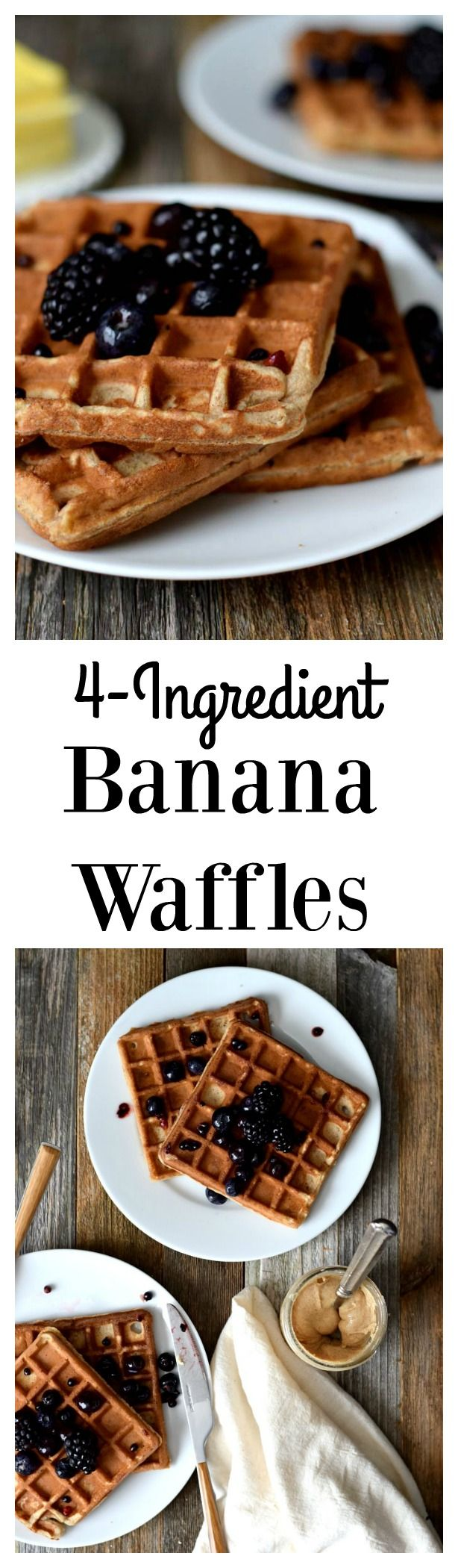 Flourless 4-Ingredient banana waffles: Just banana, eggs, nut butter and baking soda!