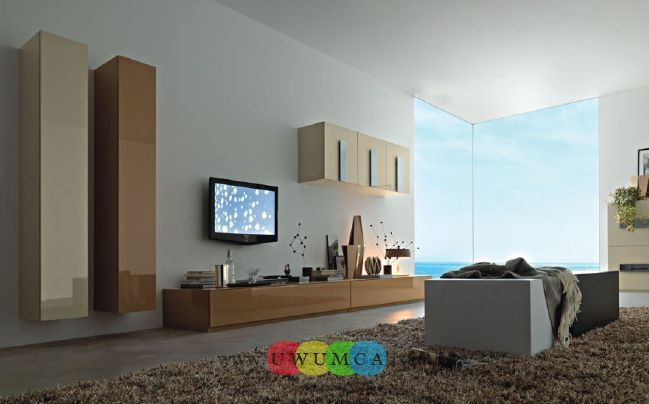 Living Room:Modern TV Wall Units 06 In Beige And Brown Colors Decorating Brazilian Living Room And Lighting With Sofa Furniture Coffe Table Chairs Rug Design Decor Luxury Living Room Decor of an Art Collector by Gisele Taranto