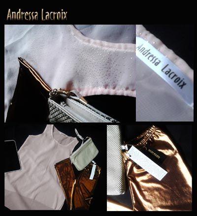 Pantalon cobre metalizado * Top palo de rosa en transparencia con brillos dorados.