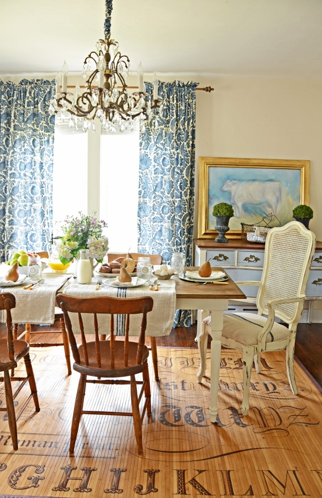 Farmtable tutorial, and I love the curtains, she has a tutorial on her site for those too!