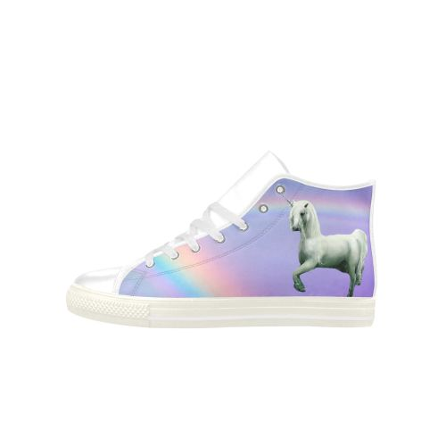 Unicorn and Rainbow Aquila High Top Action Leather Women's Shoes. FREE Shipping. FREE Returns. #sneakers #unicorn