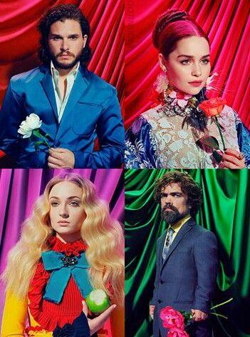 Kit Harington, Emilia Clarke, Sophie Turner and Peter Dinklage. (Time magazine) #GameofThrones #got7