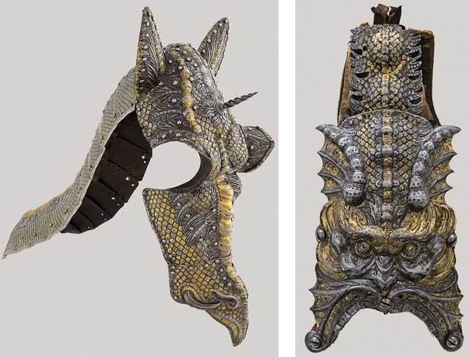 The Art of Power: Italian, 16th Century, Chanfron, Crinet and Tailguard from the Garniture Presented by the Duke of Savoy to King Philip III, Milan, c. 1585, etched, embossed, gilt, and gold-damascened steel, Patrimonio Nacional, Real Armería, Madrid