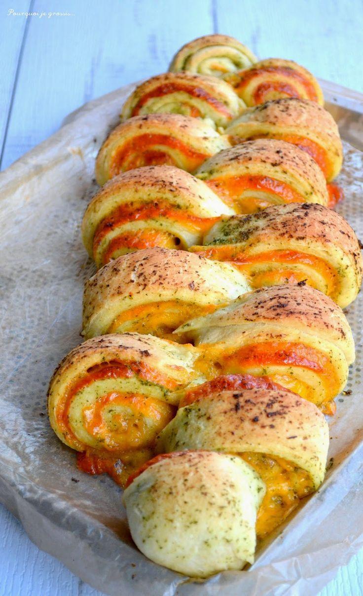 """Pourquoi je grossis ... : Pain au cheddar, à l'ail & aux herbes, façon """"pull apart bread""""."""