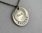 I AM a RUNNER Necklace - Running Jewelry - Running Necklace on 18 inch gunmetal chain - Great Running Gift. $19.00, via Etsy.