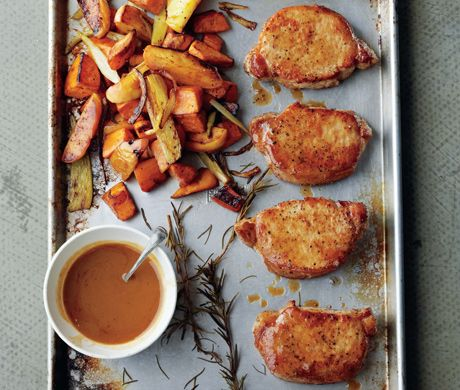 Cider-Dijon Pork Chops with Roasted Sweet Potatoes and Apples Recipe at Epicurious.com