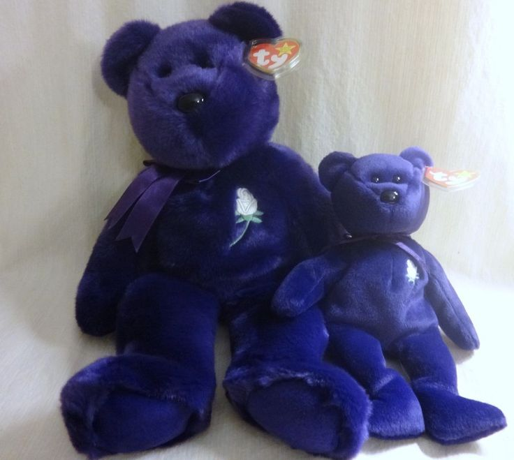 RARE 1997 Beanie Baby Princess Diana Bear PE Pellets Beanie Buddy lot #Ty