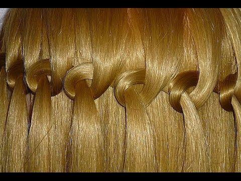 Коса Водопад. Причёска с узловым плетением для средних и длинных волос - YouTube