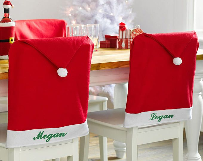Personalized Santa Hat Chair Cover - Xmas Gifts - Christmas Decor - Home Decor - Dining Chair Covers - Kitchen Chairs Covers - Holiday Decor
