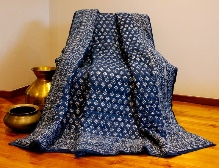 Our white and blue Rajasthani premium rajai quilt is handmade in Jaipur and this quilt in our Premium Collection is priced at AUD$149.95 in Australia.