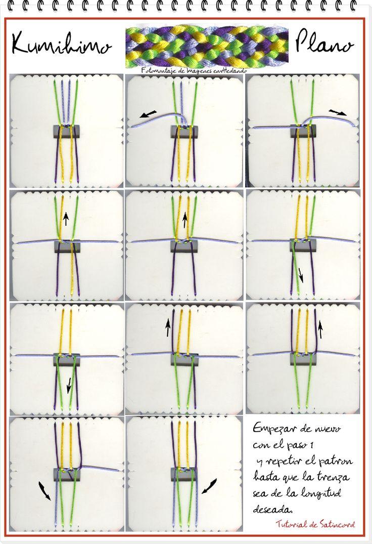 El Kumihimo es una técnica japonesa que data de alrededor de 550 A.C. cuando se propago la religión budista en Japón, y la gente comenzó a usar cuerdas decorativas  para todo en las ceremonias religiosas. Más tarde, la gente usaba este tipo de trenzas con colores brillantes para decorar ropa, colgar banderas, y las armaduras o incluso para colgar cuchillos y piezas en los mercadillos..