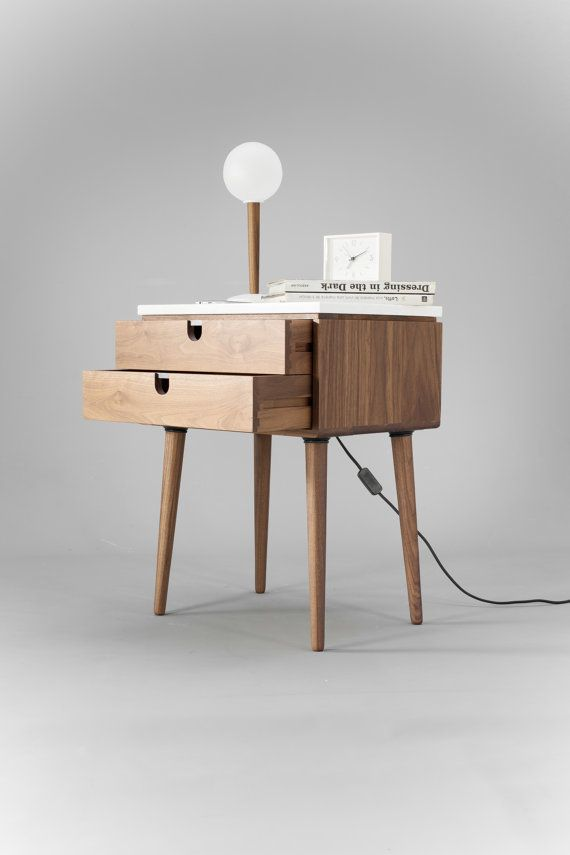 Nightstand with two drawers in solid Walnut wood board and on
