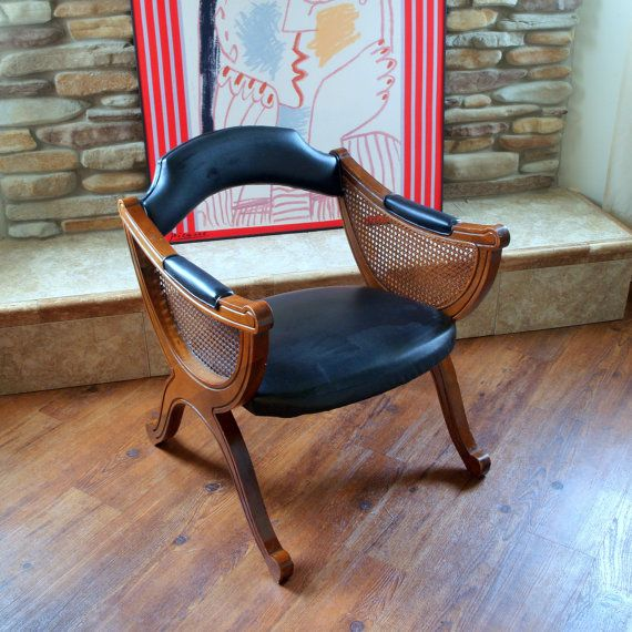 UNIQUE VINTAGE CHAIR  Mid Century  Asian Flair  Black Faux Leather  Wood  Cane  Side Chair  Occasional Chair  Armchair  Searing