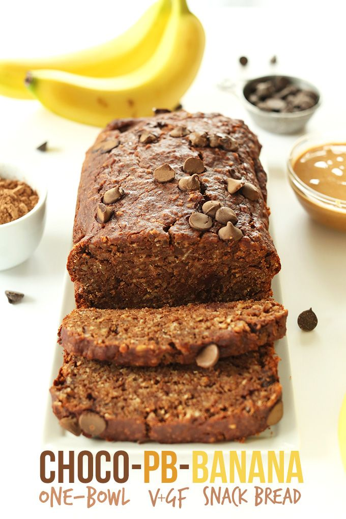 Chocolate Peanut Butter Banana Snack Bread! #vegan #glutenfree and One Bowl!
