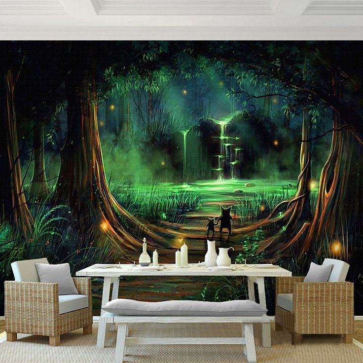 g nstige benutzerdefinierte 3d stereo mural tapete hd m rchenwald fluoreszierende tapete. Black Bedroom Furniture Sets. Home Design Ideas