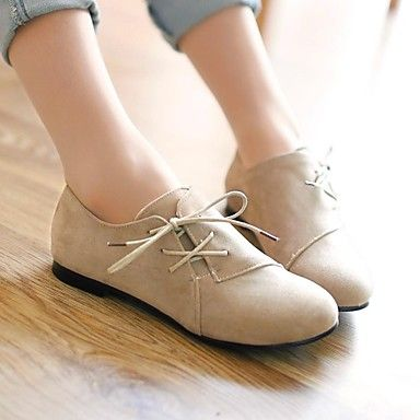 Women's Shoes Faux Suede Spring / Summer / Fall / Winter Round Toe Dress Flat Heel Lace-up Black / Brown / Beige 2016 - $23.99