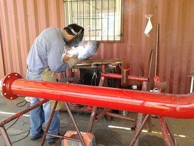 soldadura de piezas prefabricadas para instalacion de redes para incendio