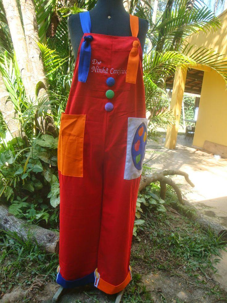 Roupa de palhaço - macacão e boina: Macacão Paleta vermelho