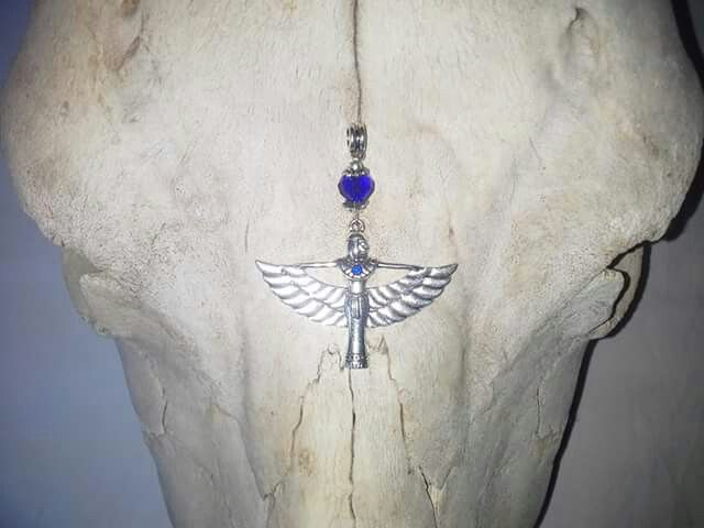 Made by Grievious-Antique Silver Isis Pendant with Royal Blue Crystal Glass Beads