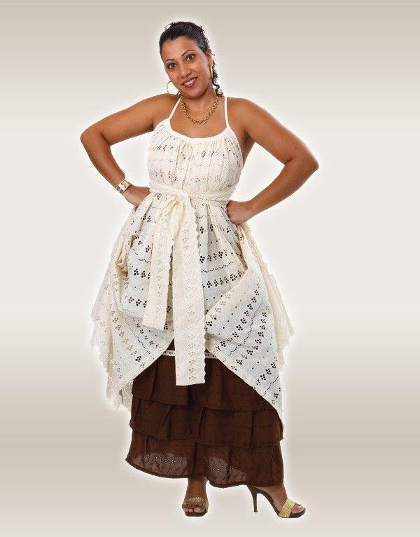 Robe créole en broderie anglaise avec son jupon