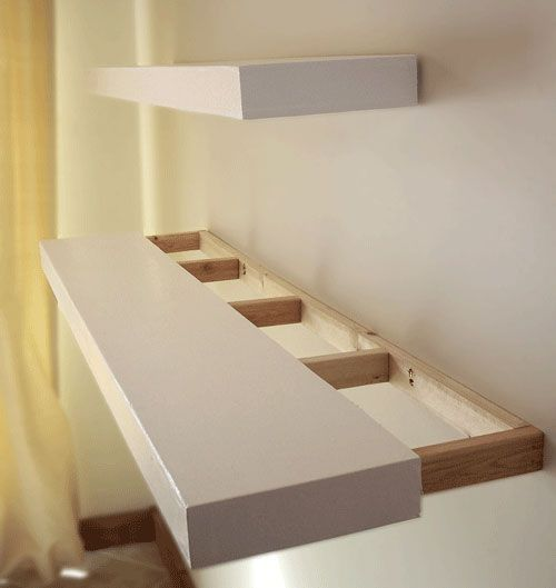 Finally! DIY instructions for how to build solid wood floating shelves of any length, to stain or paint any desired color.