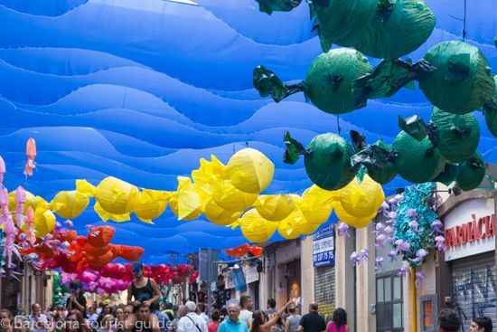 Colourful street displays during the Gracia Festival.