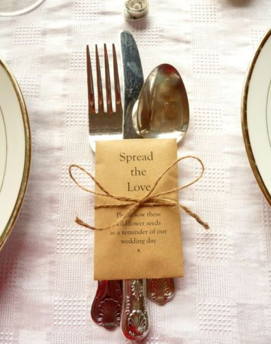 10 x Wildflower Seed Wedding Favours - SPREAD THE LOVE - Table Guest Favours B1 £4