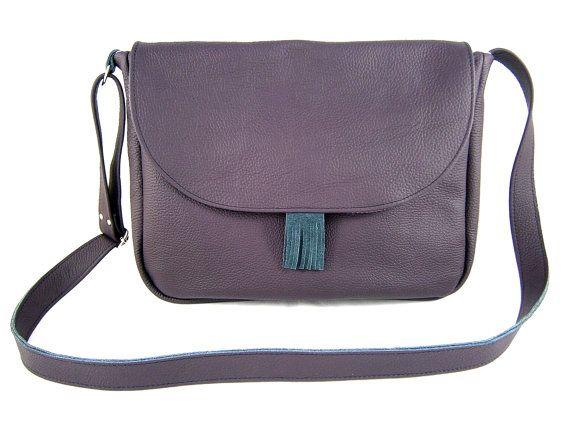 leather bag messenger bag shoulder bag violet by Torebeczkowo