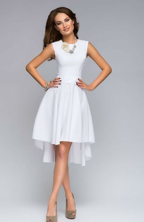 Formal Assymetrical White Dress Summer Evening by FashionDress8